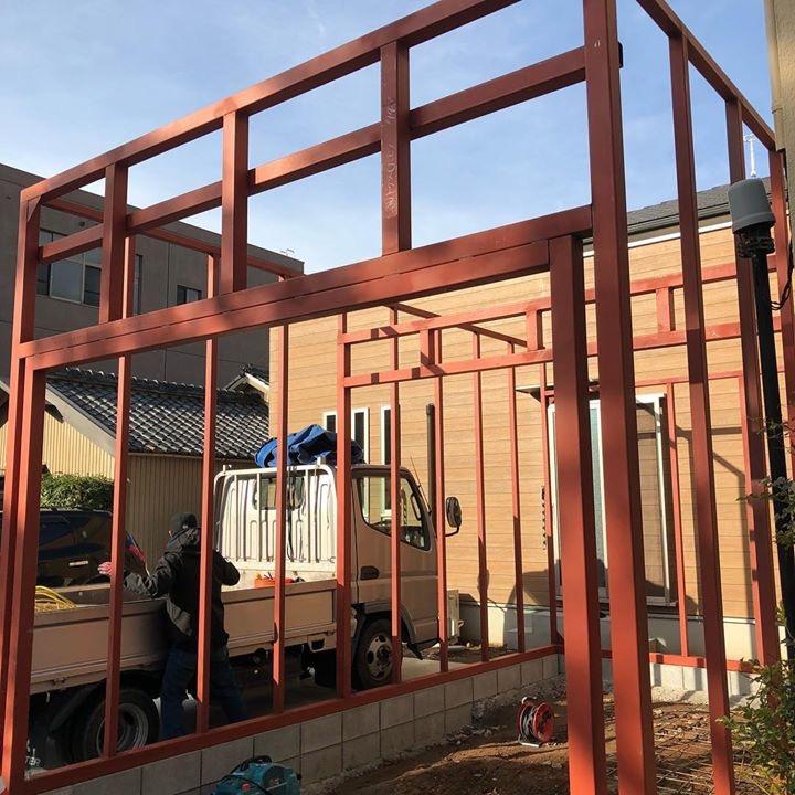 H様邸にてスタートしたガレージ工事風景。