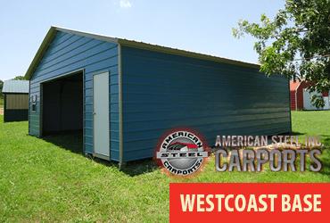 西海岸のアメリカンカルチャーをイメージできるアメリカンスチールカーポート社製のスチールガレージ